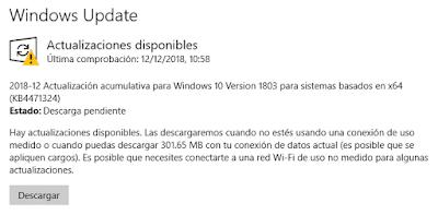 Configuración de Windows Update con actualizaciones de seguridad