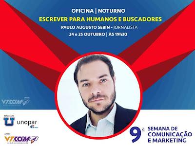 Divulgação da oficina Escrever para Humanos e Buscadores - 9º Semana de Comunicação e Marketing em Londrina