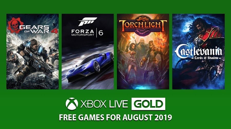 xbox live gold free games august 2019 castlevania lords of shadow forza motorsport 6 gears of war 4 torchlight