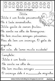 Pequenos textos para alfabetização com passarinho