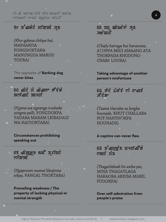 1/3: 80 Manipuri Proverbs (Paorou) Based on Animals, Birds