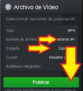 cambia el nombre del video y la ruta donde se guardará por último selecciona publicar y listo