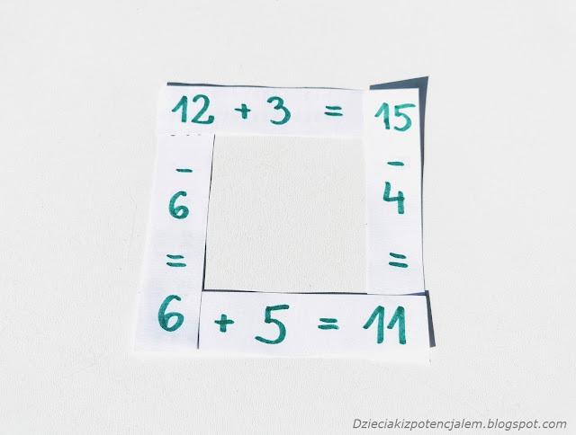 na zdjęciu kwadrat ułożony z czterech pasków papieru, na których napisane są niepełne działania w zakresie do 20