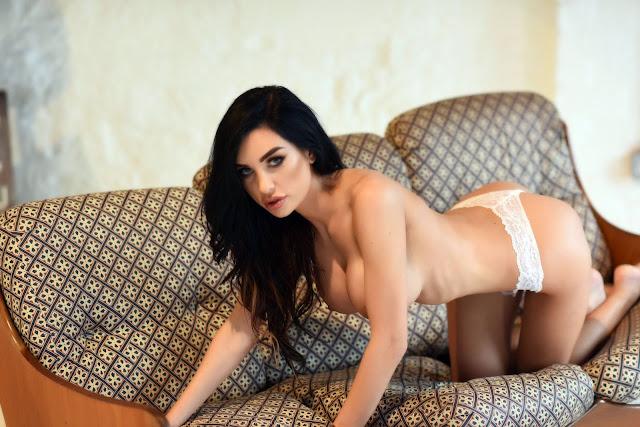Ann Denise White Lingerie bent down naked big boobs