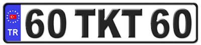 Tokat il isminin kısaltma harflerinden oluşan 60 TKT 60 kodlu Tokat plaka örneği