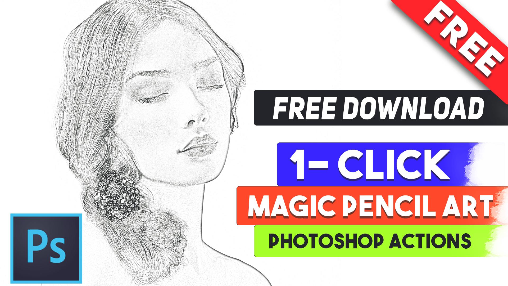 magic pencil sketch art photoshop actions