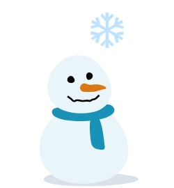 снеговик и фиксированные новогодние снежинки