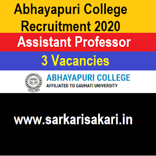 Abhayapuri College Recruitment 2020- Assistant Professor