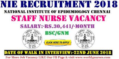 NIE Tamilnadu Govt Staff Nurse Recruitment 2018