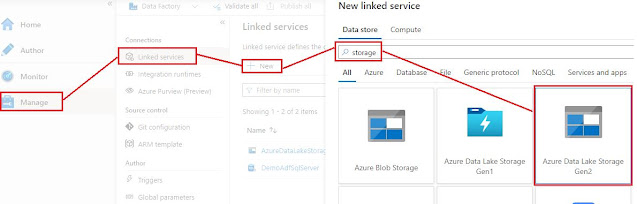 linked service for ADLS gen2 with parquet format