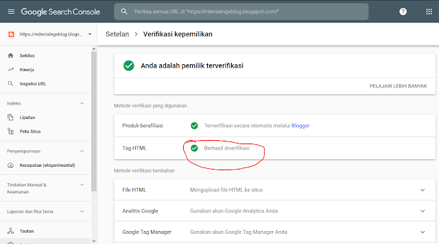 Verifikasi Tag HTML Search Console
