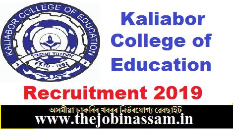 Kaliabor College of Education Recruitment 2019