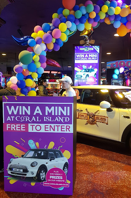 Coral Island Blackpool win a mini competition display in attraction with car and signage