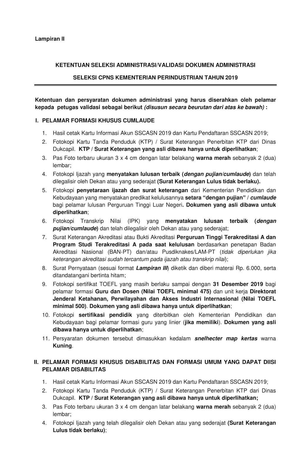 Pengumuman Dan Ketentuan Pelaksanaan Seleksi Administrasi Validasi Dokumen Administrasi Cpns Kementerian Perindustrian Tahun Anggaran 2019 Rekrutmen Lowongan Kerja Bulan Oktober 2020
