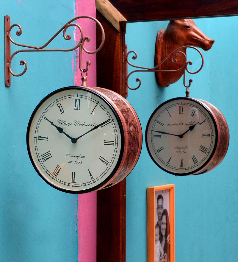 Brown Metal Round Retro Hanging Clock! Home Decor