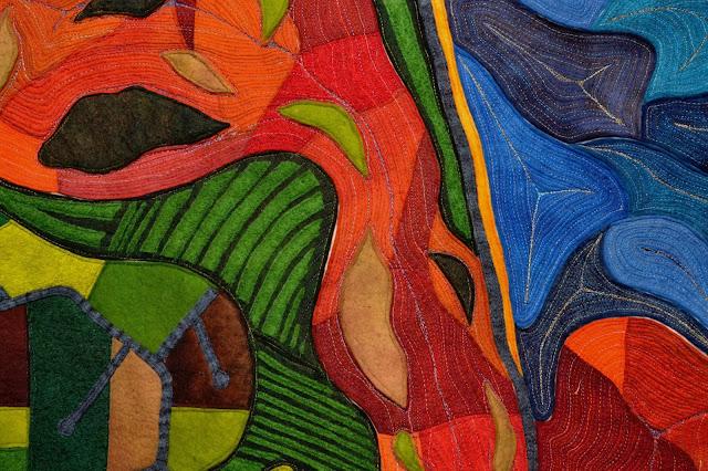artystycznie zszywane tkaniny