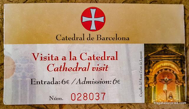 Ingresso para a Catedral de Barcelona