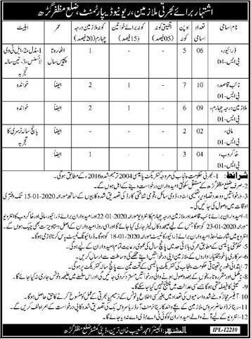 Jobs in revenue department Muzaffarabad for driver naib  and Driver jobs