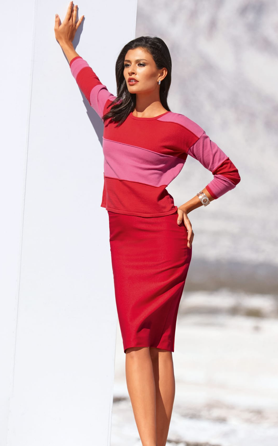Madeleine Red Skirt and Sweater