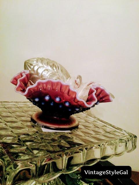 Fenton plum hobnail bowl