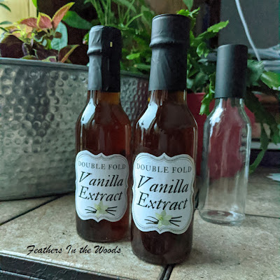 Homemade vanilla extract. Glass bottles with custom labels