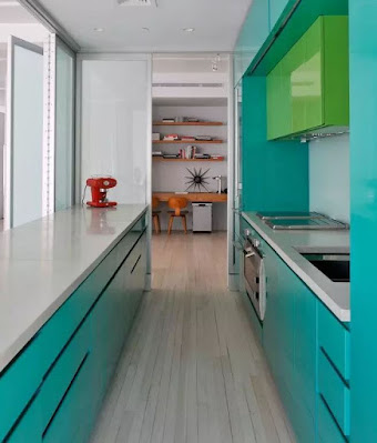 Teal kitchen cabinets for narrow kitchen ideas