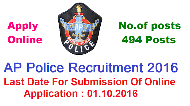 AP Police Recruitment 2016|State Level Police Recruitment Board, Andhra Pradesh| SLPRB, A.P invites application through ONLINE mode only in the prescribed proforma to be made available on WEBSITE recruitment.appolice.gov.in from 07-09-2016 at 1000 hours to 01-10-2016 at 1700 hours for the following posts|The Physical Measurement Test and Physical Efficiency Test is likely to be held in the first week of October, 2016| The Final Written Examination is likely to be held in the firstweek of November, 2016.|State Level Police Recruitment Board, Andhra Pradesh invites Application for the post of 494 Stipendiary Cadet Trainee Police Constables (Communications) (Men & Women). Apply Online before 01 October 2016./2016/09/ap-police-recruitment-2016state-level-police-recruitment-board-SLPRB-apply-online-appolice-gov-in.html