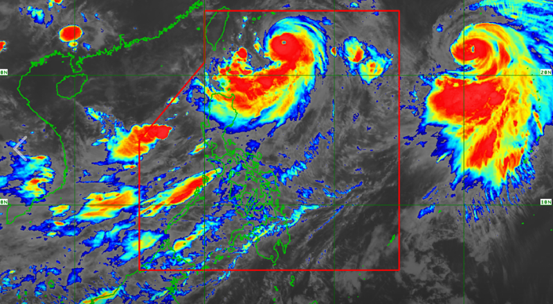 Satellite image of Typhoon Hanna as of 5:00 am on Thursday, August 8