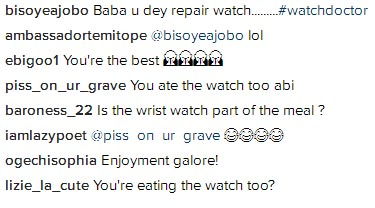 Is the watch part of your meal? Fans ask Freeze as he brandishes wristwatch alongside food