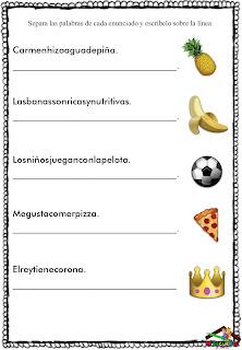 Ejercicios de separación de palabras en oraciones para imprimir