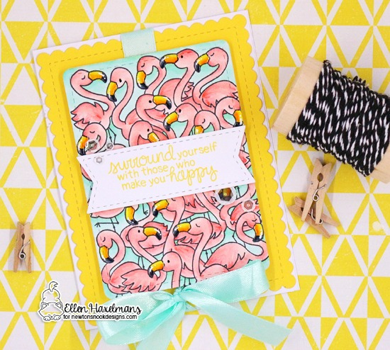 Flamingo crowd card by Ellen Haxelmans | Flamingo Flock Stamp Set by Newton's Nook Designs #newtonsnook #handmade