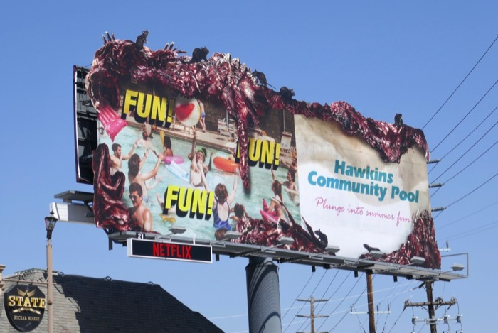 Stranger Things 3 Hawkins Community Pool billboard