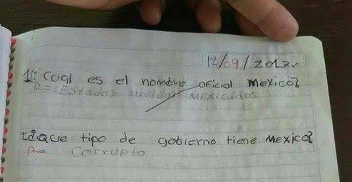 Niño escribe que el gobierno de México es corrupto y le tachan la libreta