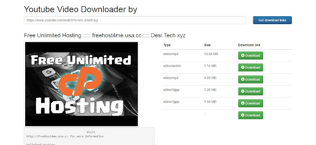 This Is A screen shot of DesiTube Downloader