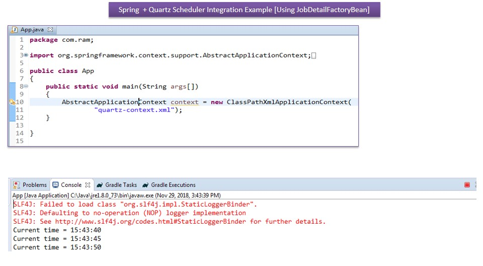 JAVA EE: Spring+Quartz Scheduler Integration Example