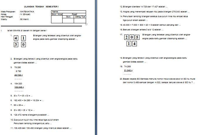 Download Contoh Soal SD/MI Kelas IV Semester 1 Mata Pelajaran Matematika Format Microsoft Word
