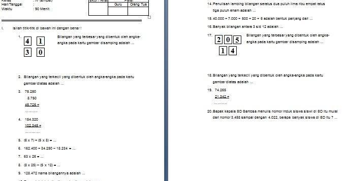 Download Contoh Soal Sd Mi Kelas Iv Semester 1 Mata Pelajaran Matematika Format Microsoft Word