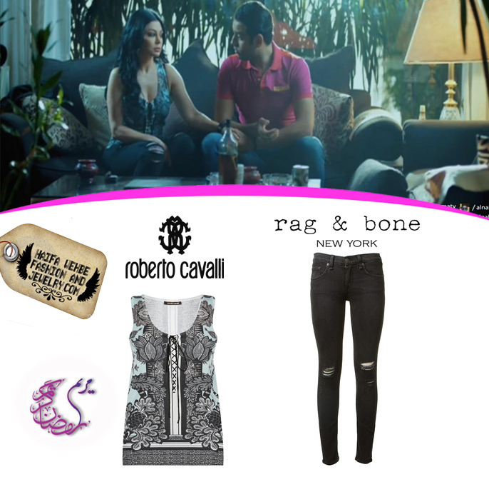 984d514adc60 Haifa Wehbe Wearing Skinny Distressed Mid-Rise jeans by Rag   Bone  andFloral Print Knitted Top by Roberto Cavalli