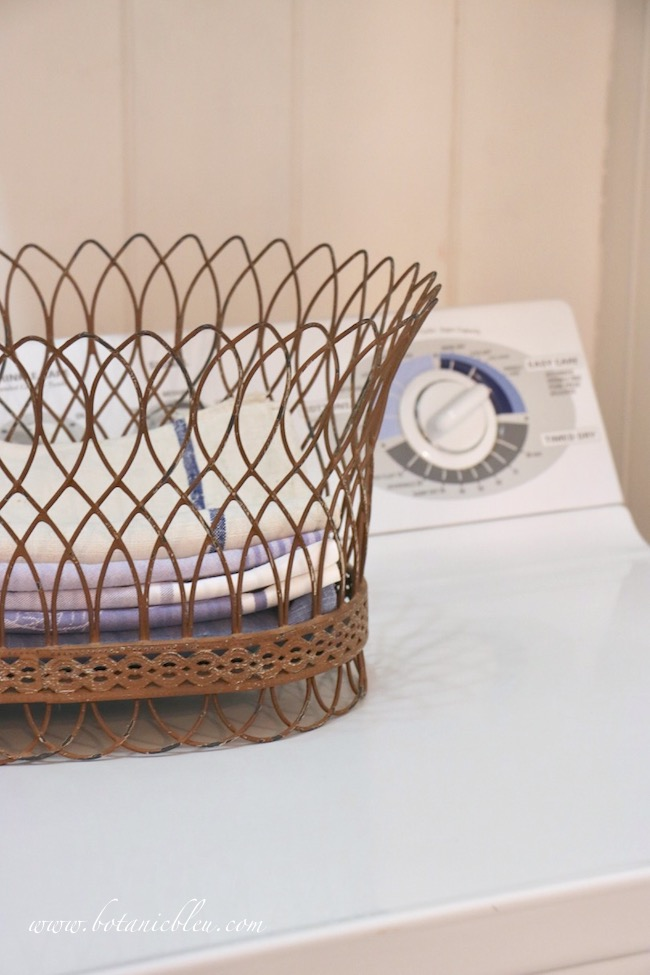 French Country laundry ORC French Style Details of French wire basket