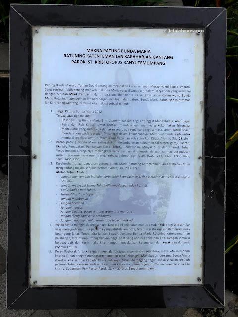 Filosofi dari Patung Bunda Maria Ratuning Katentreman lan Karaharjan - Taman Doa Maria Gantang Ⓒjelajahsuwanto