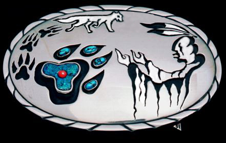 Gagwedwewin / Bawaagan (The Invocation / Spirit Helper) sterling silver belt buckle created by Zhaawano Giizhik