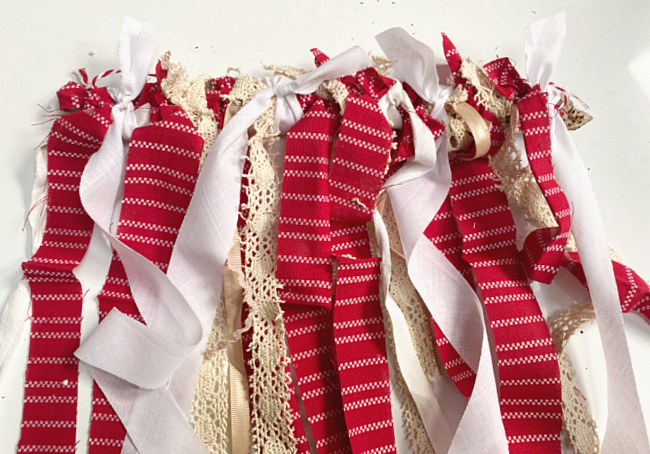 rags and ribbons in red and white