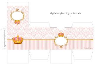 Caja Cubo para Imprimir gratis de Corona Dorada en Fondo Rosa.