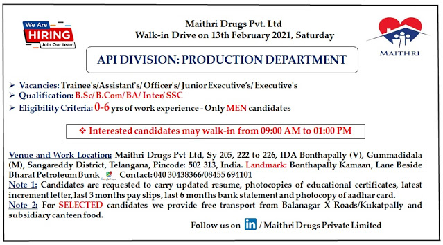 Maithri Drugs | Walk-in for Freshers and Expd on 13th Feb 2021
