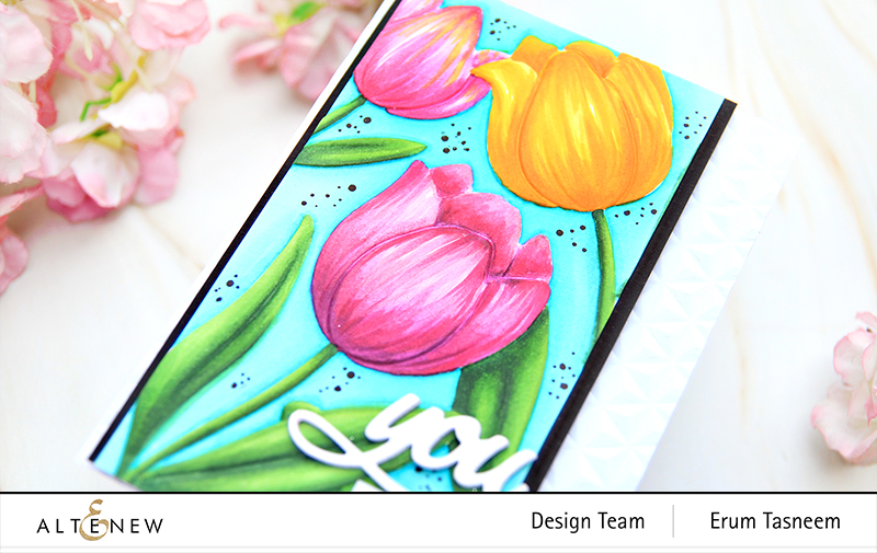 Altenew Tulip 3D Embossing Folder + Artist Alcohol Markers | Erum Tasneem | @pr0digy0