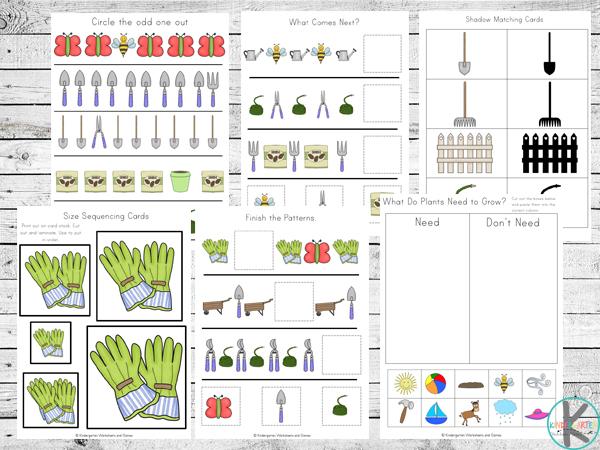 garden kindergarten worksheets, preschool, prek, first grade