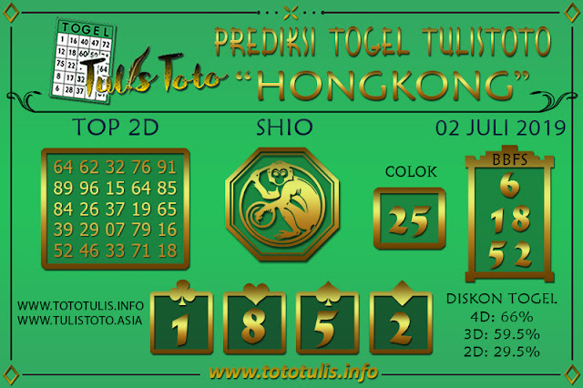 Prediksi Togel HONGKONG TULISTOTO 06 JULI 2019