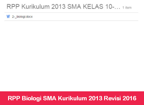 RPP Biologi SMA Kurikulum 2013 Revisi 2016