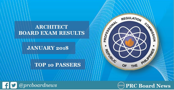 PRC RESULT: January 2018 Architect board exam ALE top 10 passers