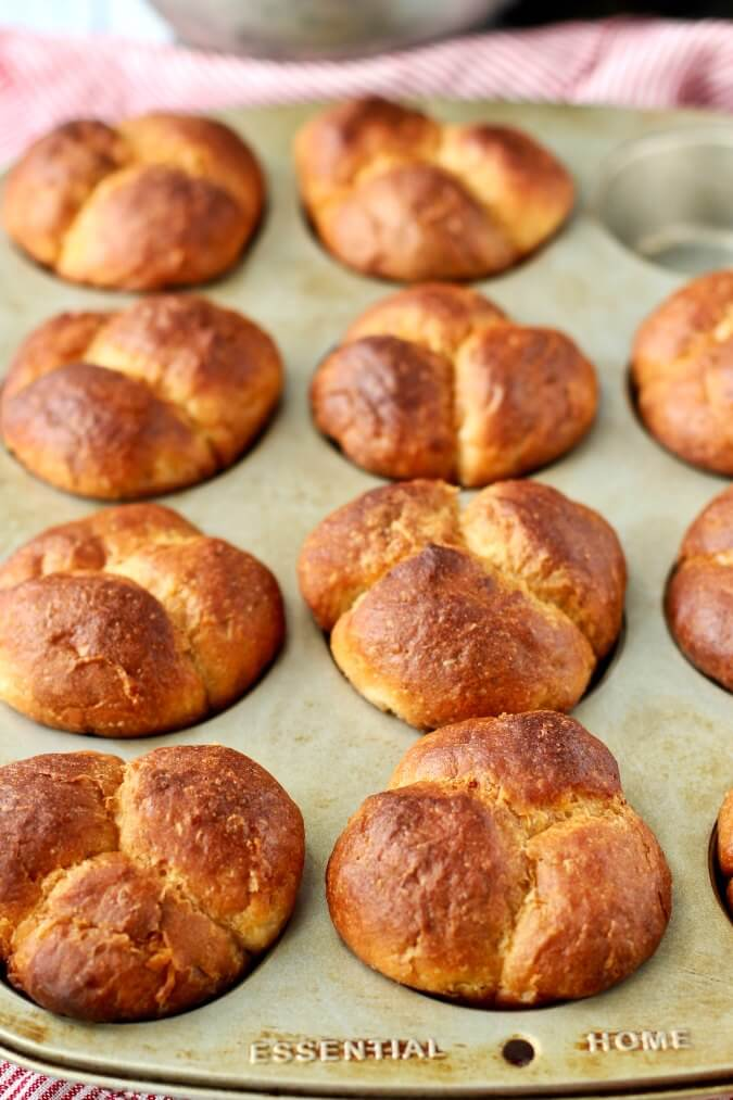 No Knead Cloverleaf Dinner Rolls in a muffin tin